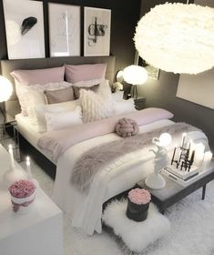 30 Teen Girl Bedroom Decor Ideas Home Bedroom Decor White Bedroom Decor, Bedroom Decor For Teen Girls, Home Decor Bedroom, Master Bedroom, Teen Bedroom, Budget Bedroom, Bedroom Bed, Rich Girl Bedroom, Bedroom Ideas For Small Rooms Cozy