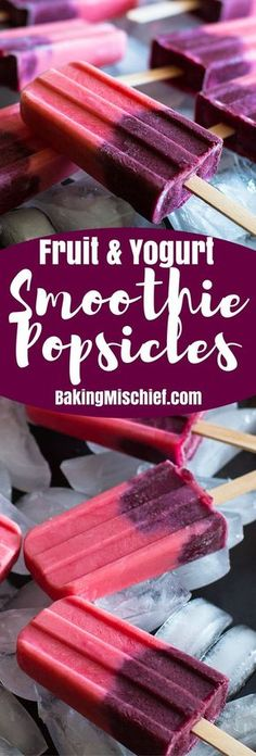 These Yogurt Smoothie Popsicles are an easy fun and fruity frozen dessert! | Light Desserts | Summer Deserts |