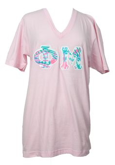 Phi Mu Lilly Stitched Letter Tshirt, Phi Mu Lilly Letter Shirt, Bulk Discount