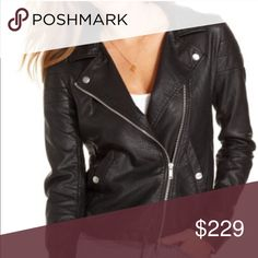 Calvin Klein Leather Jacket 100 % buttery soft lamb leather Notched collar Asymmetrical zipper closure at front Quilted design on shoulders CK Jeans logo engraved hardware 2 snap button front pockets Fabric lined Color: Black Calvin Klein Jackets & Coats
