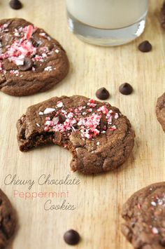 Chewy double chocolate cookies with mint in the batter and on top with a sprinkling of crushed candy cane. Perfect for cookie exchanges, holiday gatherings or alongside a cup of hot cocoa on a cold winter's night.