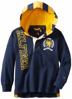 Tommy Hilfiger Boys 27 Long Sleeve Gale Hoody Frugby, Swim Navy, 03 Regular Picture