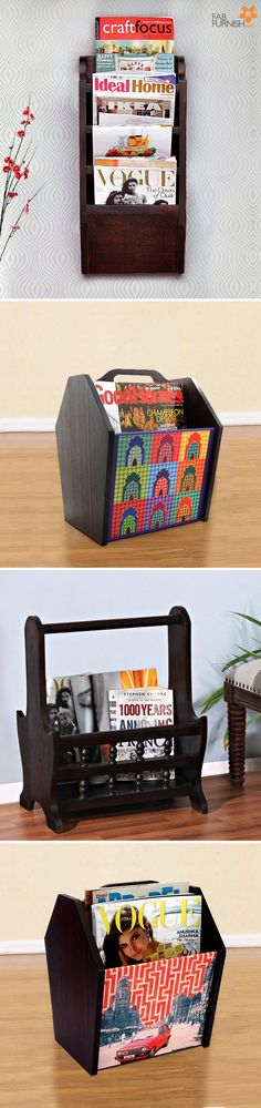 Let your #magazine overflow be as #glamorous as the updates inside!  Pick some cool magazine racks!  #DiwaliDecor and #FabFurnish