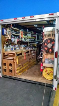 Job Site Trailers, Show Off Your Set Ups! - Page 90 - Tools & Equipment Trailer Shelving, Van Shelving, Trailer Storage, Truck Storage, Work Trailer, Trailer Build, Cargo Trailers, Utility Trailer, Van Storage