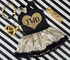 d245588b7d97 Black and Gold Sequin Birthday Age In Heart Tutu Dresses For Toddler Girls  Ages 1-