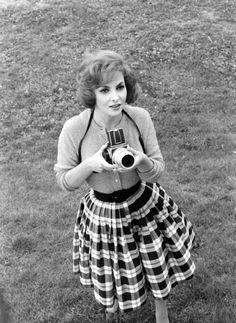Gina Lollobrigida, 1950s - a nice informal 50's sweater and skirt combo