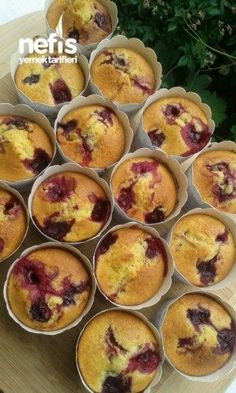 10 Minuets : How to make Cherry Muffin Recipe? people in the book of . Easy Cooking, Cooking Recipes, Cherry Muffins, Pasta Cake, Turkish Recipes, Muffin Recipes, Cupcake Cookies, Tart, Food And Drink