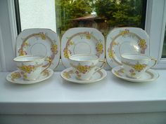 1 of 11: 3 Vintage Sutherland China Trios Tea Cup Saucer Plate Floral Pattern number 1991