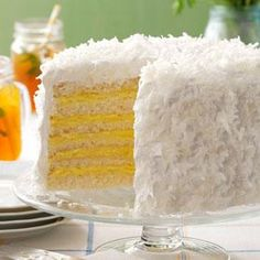 Six-Layer Coconut Cake with Lemon Filling Recipe -I found this recipe when going through my grandmother's old files. It was originally made with an orange filling, but using lemon pudding in the filling makes it easier to prepare. It is simply the best. —Angela Leinenbach, Mechanicsvlle, Virginia