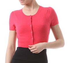 Broad Minded Clothing - Cropped Button Front Short Sleeve Cardigan Sweater in Rose Pink $31.50