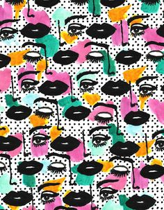 dots, mouth, pop art