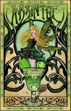 Green Fairy Art Nouveau Poster by nykofade on DeviantArt