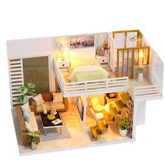 [US$23.99] iiecreate K031 Simple And Elegan DIY Doll House With Furniture Light Cover Gift Toy #iiecreate #Simple #Elegan #Doll #House #With #Furniture #Light #Cover #Gift