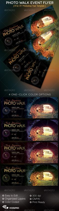 The Photo Walk Event Flyer Template is for professional photographers or hobby photograph group events. The modern design can also be used for other events with minimal edits. $6.00