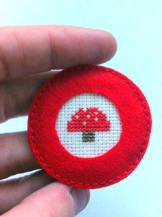 Mushroom embroidered cross stitch brooch by Gluckhandmade on Etsy, $9.50