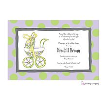 Girl Baby Shower Invitations stroller purple with green polka dots