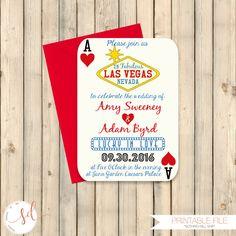Las Vegas Wedding Invitation Poker Playing Card Vegas Wedding