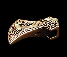 Knotwork Viking axe head pendant, bronze