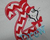Boutique Custom Cat in HAT CHEVRON Applique Birthday T-shirt sz 12m-5T PERSONALIZED