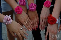 Bracelets with flowers for the bachelorette party, girl party, birthday or Bridesmaids Bracelets,  FOR THE ORDER. Price for the 1 pcs. by Julsera on Etsy https://www.etsy.com/listing/105326380/bracelets-with-flowers-for-the