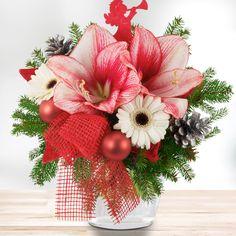 Blumenstrauß Weihnachtsamaryllis Rot Silber #Blumen #Weihnachten