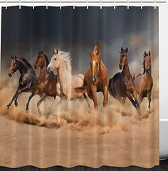 Western Bathroom Decor Masculine Shower Curtain Running Horses Southwestern Home Accessories Country House Decor Gifts for Equestrians Horse Owners Farm Life Fabric Shower Curtains Set with Hooks