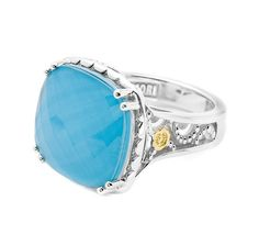The refreshing combo of Clear Quartz layered over neolite Turquoise makes this cocktail ring eye-catching and dreamy.