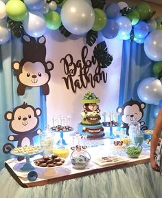 23 Clever DIY Christmas Decoration Ideas By Crafty Panda Monkey Baby Shower Decorations, Cute Baby Shower Ideas, Boy Baby Shower Themes, Baby Shower Cakes, Baby Boy Shower, Monkey Themed Baby Shower, Decoracion Baby Shower Niña, Baby Shower Invitaciones, Deco Jungle