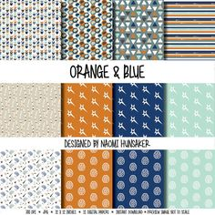 Modern Neuroscience Paper Pack   Orange & Blue   Instant Download by handmadephd. Explore more products on http://handmadephd.etsy.com