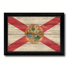 Florida State Flag Texture Canvas Print with Black Picture Frame Home Decor Man Cave Wall Art Collectible Decoration Artwork Gifts