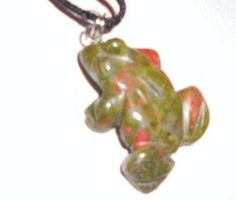 $7.99 1 of a Kind Large Natural Green Pink Unakite (B) Crystal Gemstone Frog Pendant: Jewelry: Amazon.com
