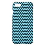 Light Blue & Black Wavy Lines Pattern iPhone 7 Case