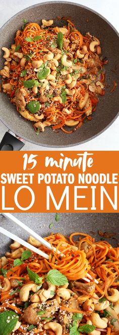 You'll love this tasty 20 minute sweet potato noodle lo mein! It's so easy, so flavorful, and bound to be your new favorite weeknight meal. thetoastedpinenut.com #glutenfree #paleo #lomein