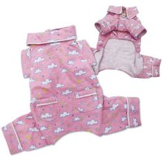 Adorable Flannel Fluffy Clouds Dog Pajamas - Pink - S from Klippo   $24.99   Available at BuyDogSweaters.com