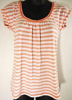 HOLLISTER Women's M Medium Pink White Striped Scoop Neck Casual T-Shirt Top