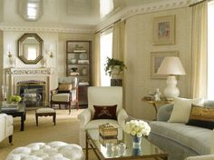 Love the dentil molding, neutral pallette and glossy ceiling... Designed by Phoebe Howard