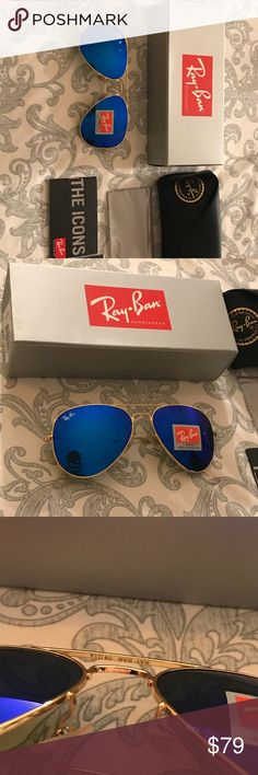Dark blue Mirrored Ray-Ban Dark blue Ray-ban size 58 fast shipping unisex with box and case Ray-Ban Accessories Glasses