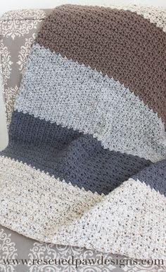 Neutral Striped Crochet Blanket Pattern by Rescued Paw Designs Crochet Afghans, Motifs Afghans, Striped Crochet Blanket, Afghan Crochet Patterns, Crochet Stitches, Pdf Patterns, Crochet Blankets, Modern Crochet Blanket, Modern Crochet Patterns