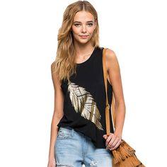 Pop women summer black punk T-shirts gold leaf print sleeveless O Neck female shirts casual slim tops clothing plus size3xlDWB10 Price: PKR 1042.6626 | Pakistan