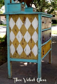 Painted Furniture - Dresser ... the pattern is similar to my plans for the card modification for my bookcase in the Alice room.