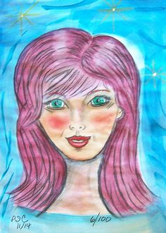 Watercolors, Inktense blocks and pan pastels. Face 6/100 - Nov 2014