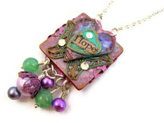 Inspirational Butterfly Heart Necklace - Hope - by Janet Wilson of ChickieGirlCreations on Etsy