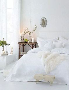 The French Bedroom Company Blog. How to: Create a Romantic Boudoir with fairy lights, layers, beautiful french beds and more. Interior designer tips on romance for your home and boudoir. White shabby chic boho layered bedroom with white bed. light and airy interiors