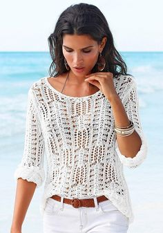 White Light Knit Sweater from LASCANA women's clothing. Feel sexy and confident in our beautiful beachwear. Crochet Blouse, Knit Crochet, Summer Knitting, Knit Fashion, Fashion Top, Fashion Fall, Dress Fashion, Fashion Women, Bohemian Fashion
