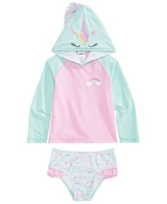Solo Little Girls 2-Pc. Mystique Hooded Rash Guard Set & Reviews - Swimwear - Kids - Macy's