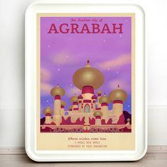 Disney Agrabah Aladdin Retro Travel Print