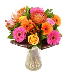 "This bouquet certainly lives up to its name! Containing gorgeous orange and pink roses, some fabulously vivid gerberas and some wonderful orange nutans thrown in too - just in case this concoction needed any more flair! A superb choice as a ""Get Well Soon"" gift as this selection will brighten any room, whether it's a hospital ward or a bedroom. Or (if you need an excuse to treat yourself) a perfect way to lighten up your desk and invigorate your day."