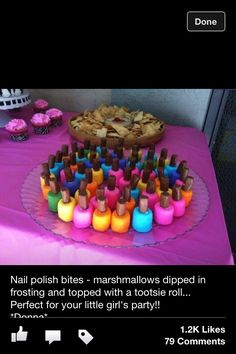 Cute party snack marshmallows dipped in frosting with a tootsie roll on top