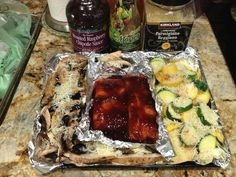 Salmon topped with Raspberry Chipotle Sauce, Portabella Mushrooms, Green and Yellow Squash topped with Italian Dressing and Parmesan. Cook about 25 mins in the toaster oven