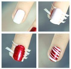 nail art facile et joli: manucure rayée en blanc et rouge